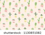 cute cactus pattern background. ... | Shutterstock .eps vector #1130851082