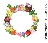 watercolor frame with fruits... | Shutterstock . vector #1130851472