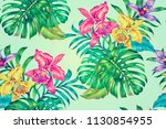 tropical seamless summer... | Shutterstock . vector #1130854955