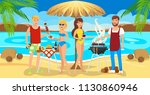 meeting good friends on the... | Shutterstock .eps vector #1130860946