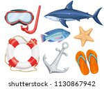 vector set of marine beach... | Shutterstock .eps vector #1130867942
