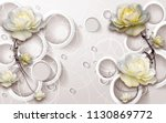 3d rings and flowers wallpaper | Shutterstock . vector #1130869772