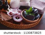 spa setting with hibiscus... | Shutterstock . vector #1130873825