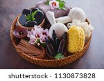 spa setting with hibiscus... | Shutterstock . vector #1130873828