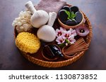 spa setting with hibiscus... | Shutterstock . vector #1130873852