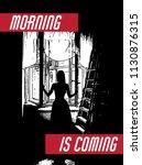 morning is coming. vector hand...   Shutterstock .eps vector #1130876315