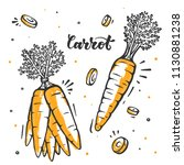 carrot set in sketch style. raw ... | Shutterstock .eps vector #1130881238