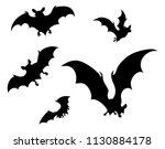 a set of halloween bats flying... | Shutterstock .eps vector #1130884178