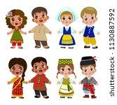 cartoon children in traditional ... | Shutterstock .eps vector #1130887592