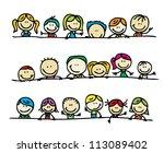 doodles border of happy kids   Shutterstock . vector #113089402