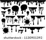 ink blots and drips vector set... | Shutterstock .eps vector #1130901392