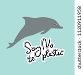 say no to plastic. whale ... | Shutterstock .eps vector #1130911958