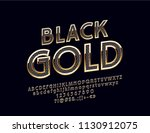 vector black gold alphabet... | Shutterstock .eps vector #1130912075