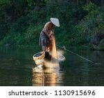fishermen throw a fishing nets. ... | Shutterstock . vector #1130915696