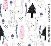 seamless pattern with rabbit.... | Shutterstock .eps vector #1130921045