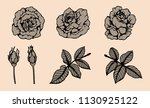 rose vector lace by hand... | Shutterstock .eps vector #1130925122