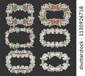 floral wreath sketch background ... | Shutterstock .eps vector #1130926718