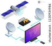 vector tv antenna  realistic...   Shutterstock .eps vector #1130934986