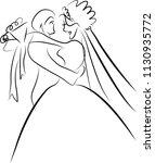 a just married couple cartoon... | Shutterstock .eps vector #1130935772