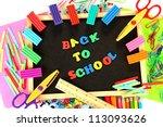 small chalkboard with school... | Shutterstock . vector #113093626