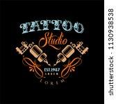 tattoo studio logo estd 1987 ... | Shutterstock .eps vector #1130938538