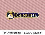 golden badge with money bag... | Shutterstock .eps vector #1130943365