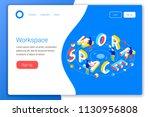 workspace design concept.... | Shutterstock .eps vector #1130956808
