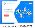 online reading or creating news ... | Shutterstock .eps vector #1130960372