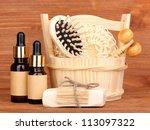 Bathroom set on wooden background - stock photo