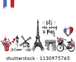 paris vintage watercolor... | Shutterstock .eps vector #1130975765