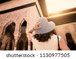 tourist woman looking at... | Shutterstock . vector #1130977505