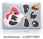 sticker set with cute girl and... | Shutterstock .eps vector #1130977805