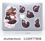 sticker set with cute girl and... | Shutterstock .eps vector #1130977808