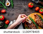 steak cooking with meat and... | Shutterstock . vector #1130978405