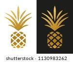 modern golden pineapple shape | Shutterstock .eps vector #1130983262