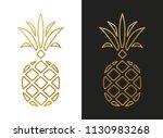 modern golden pineapple shape   Shutterstock .eps vector #1130983268
