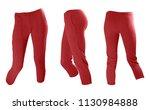 slim red women's knitted woolen ... | Shutterstock . vector #1130984888