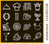 set of 16 food outline icons... | Shutterstock .eps vector #1131002138