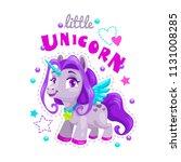 little cute cartoon unicorn... | Shutterstock .eps vector #1131008285