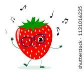 cute strawberry cartoon... | Shutterstock .eps vector #1131016235