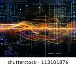 Deep Networking series. Composition of industrial grunge texture, numbers and dark gradients on the subject of computing, industrial design and modern technology - stock photo