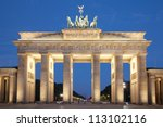 Stock photo brandeburg gate at night berlin germany 113102116
