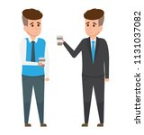 two colleagues having drink... | Shutterstock .eps vector #1131037082