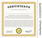 orange certificate template or... | Shutterstock .eps vector #1131041078