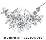 bouquet with hand drawn blossom ... | Shutterstock .eps vector #1131043058