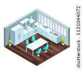 vector isometric kitchen ... | Shutterstock .eps vector #1131044072