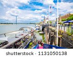 promenade at the rhine river in ... | Shutterstock . vector #1131050138