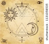 mystical drawing  sun and  moon ... | Shutterstock .eps vector #1131058535