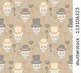 skull retro seamless texture | Shutterstock .eps vector #113106325