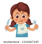 Hungry Little Girl With Fork...
